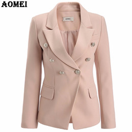 Wholesale Ladies Long Tops Designs - Pale Pink Blazer Wear to Work Office Lady Tops Clothing Fall Women New Button Design Blasers 2017 Autumn Fashion Coat Chaquetas