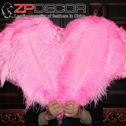 Wholesale Eveving Dresses - ZPDECOR feathers 100pieces lot 50-55cm(20-22inch) Pretty High Quality Dyed large Pink Ostrich Feather costumes eveving dress