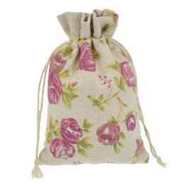 Wholesale Burlap Sacks - 10x14cm Handmade Jewelry Bags Rose Flower Cotton Linen drawstring Package bags Sack Jewelry Pouches wedding bomboniera Gift burlap bags