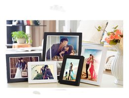 Wholesale picture frame modern - New Creative Imitation Wood Plastic Picture Frame Wall Mount Photo Frame 7 inch A4 Oil Painting Frame Top Quality Home Decoration