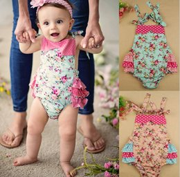 Wholesale Newborn Ruffled Diaper Cover - New Arrival 2016 Summer Baby Girls Kids Ruffle Bubble Romper Headband Set Baby Cute Clothes Newborn Diaper Cover KB313
