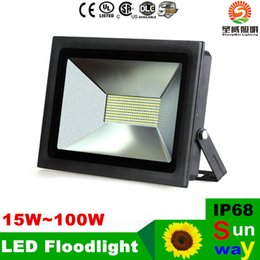 Wholesale Warm White Led Flood 12v - Outdoor IP68 LED Floodlights Landscape Lighting Flood Light 15W 30W 60W 100W waterproof garden led lights fixtures 85-265V 12v