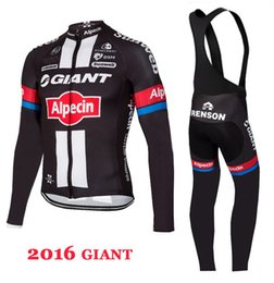 Wholesale Giant Winter Fleece Bibs - WINTER FLEECE THERMAL 2016 GIANT ALPECIN PRO TEAM BLACK LONG SLEEVE CYCLING JERSEY + BIB PANTS SIZE:XS-4XL