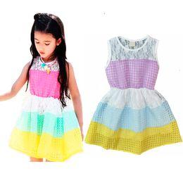 Wholesale Knee Length Chevron Dresses - Retail Summer Style Kids Princess Dress Fashion Rainbow Plaid Pattern Dress Girls Clothes Chevron Splice Girls Dresses Children Clothing