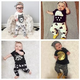 Wholesale 18 Month Girl Sweater - Baby Autumn Sets Kids Cotton Sweater Hoodie Leggings Pants 2 Pieces Suit Boys Girls Cartoon Monster Letter Long Sleeve Toddler Clothes