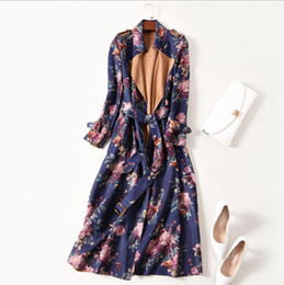 Wholesale Wearing Belts Slim Women - European and American women's wear 2017 The new winter Long sleeve lapel lace-up Faux suede Floral print Trench coat