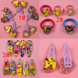 Wholesale Pikachu Ornament - Poke go Pikachu y baby hairpin clips baby girls hairbands hair claws baby hair ornament hairclip