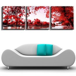 Wholesale Scenery Trees Painting - 2016 High Quality 3 piece Wall Art red tree lake scenery Oil Painting On Canvas print colorful abstract Painting Pictures Decor