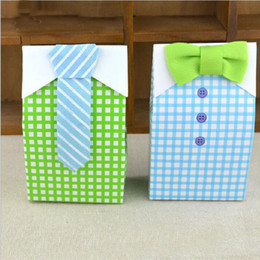 Wholesale Baby Shower Favor Bag Blue - 1000pcs  lot Little Man Blue Green Bow Tie Birthday Boy Baby Shower Favor Candy Treat Bag Wedding Favors Candy Box Gift Bags ZA0969
