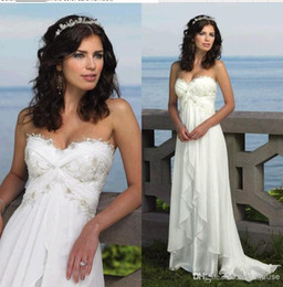 Wholesale Sweetheart Beach Empire Wedding - 2016 Summer Beach Chiffon Wedding Dress Sweetheart Lace Appliques Empire Floor Long 2015 Custom Made Bohemian Bridal Wedding Gown Cheap
