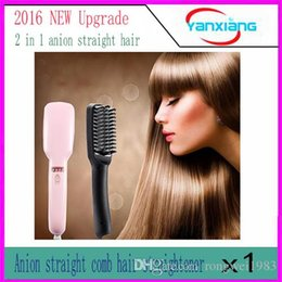 Wholesale Ion Ceramic Hair Straightener - 1pc 2 in1 Anion Straight Comb Auto LCD Brush Hair Straightener Iron Straightening Irons Negative Ions Hair YX-ZF