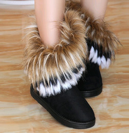 Wholesale Brown Flat Knee Boots - New Women Autumn Winter Snow Boots Ankle Boots Warm Fur Shoes Flat Women's Snow Boots 3 Colors .