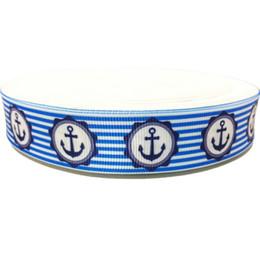 Wholesale Grosgrain Ribbon 22mm - 22mm Polyester Blue Grosgrain Ribbon 50 yards Anchor Printed Wholesale Multicolor Chevron Webbing 7 8inch Hairbows Pattern Ruban Cinta