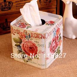 Wholesale Iron Seats - Wholesale- Free Shipping!Europe style Iron Facial paper case Rose Garden Tissue Box Metal square Napkin Holder Rose Flower Home Storage box