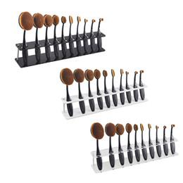 Wholesale Organizer Wood - 10pcs Toothbrush Oval Makeup Brushes Display Holder Stand Storage Boxes Organizer Curve Brush Showing Rack Mermaid 2805110