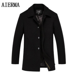 Wholesale High Collar Trench Coat - Fall-AIERMA men new turn-down collar wool coats black single breasted men's casual trench overcoat brand clothing high quality