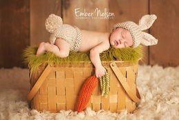 Wholesale Original Hats Wholesale - New Fashion Original Unisex Baby Hand Knitting Photography Props Clothing Lovely Beige Rabbit Toddler Infant Beanie Hat Costume Set A5765