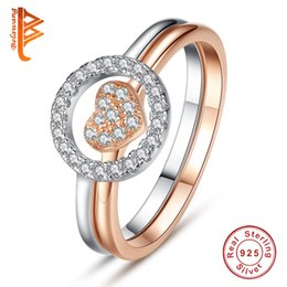 Wholesale Heart Shaped White Gold Ring - BELAWANG 925 Sterling Silver & Rose Gold Color with Pave Clear Cubic Zirconia Round and Heart Shape Wedding Rings Set for Women Jewelry