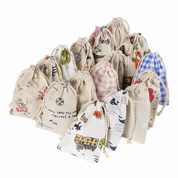 Wholesale Empty Gift Bag - Printed Linen Cotton Drawstring Bags Empty Pocket Jewelry Gift Bag Flower Sachet Bag Sack