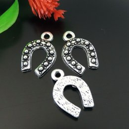 Wholesale Wholesale Horse Shoe Jewelry - 30pcs Antique Silver Horse Shoe Pendant Charm Jewelry Finding 18*12*1mm 39163 jewelry making