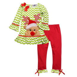 Wholesale Long Nose Animal - 2016 Christmas cartoon red nose Rudolph deer wavy girls Children clothing sets ruched long sleeve t shirt+ trouser 2pcs suit fast shipping