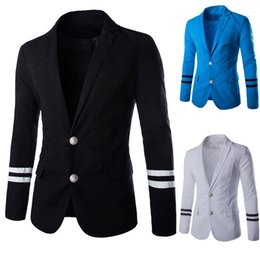 Wholesale White Buckle Jacket - Wholesale-2016 new winter men's casual suit jacket Korean Navy metal buckle long sleeved jacket suit singer clothing costume