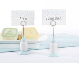 Wholesale Holiday Party Names - Baby Birthday Gift Classic Blue Baby Bottle Place Card Holder baby souvenirs Favors (blank name card as real photo) 20Pcs lot) Free shipping