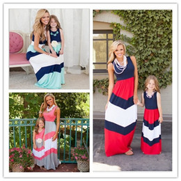 Wholesale Daughter Mother Fashions - 2016 New Mother And Daughter Dresses Summer Navy Style Striped Long Dress Fashion Mom And Baby Clothes Sleeveless Vest Stitching Dress