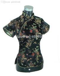 Wholesale Traditional Satin Cheongsam - Wholesale-Free Shipping 2015 New Sale fashion cheongsam top traditional Chinese Silk Satin Top dragon and phoenix blouse top Black A001X
