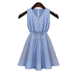Wholesale Ladys Sexy - Ladys Dresses Newest Casual Beach Dress Striped Skirt Casual Sleeveless Big Size S-XL Solid V Sexy Plus Size Women Clothing