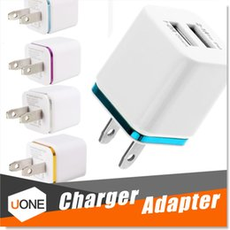 Wholesale Usb Notes - For iPhone 6 7 Plus Metal Dual USB wall US plug 2.1A AC Power Adapter Wall Charger Plug 2 port for samsung galaxy note LG tablet ipad