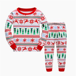 Wholesale Girl Pjs - 2017 Baby Boys Girls Christmas Pajamas Sets Kids Long Sleeve Xmas Deer tree Printed PJS Cotton Pajamas Children Autumn Clothing Set A7644