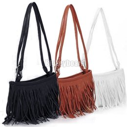 Wholesale Womens Fringe Tassel Brown Handbag - Wholesale-Womens Vintage Faux Suede Fringe Tassel Satchel Shoulder Handbag Crossbody Bag Y1