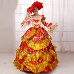 Wholesale Medieval Wine - Best Seller Vintage Wine Red Printed Medieval Renassiance Rococo Marie Antoinette Party Dresses Women Histerical Gowns Vestido