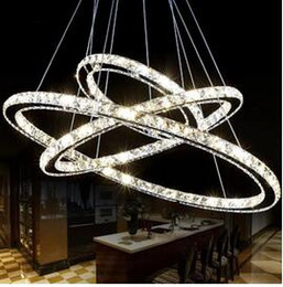 Wholesale Modern Led Ring Chandelier - Hot Selling Hot sale Diamond Ring LED Crystal Chandelier Light Modern Pendant Lamp 3 Circles 100% Guarantee different size position DHL 1pcs