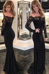 Wholesale off shouder - 2018 Charming Off Shouder Black Mermaid Evening Dresses Off Shoulder Long Sleeves Lace Applique Sweep Train Prom Dress Party Gowns Custom