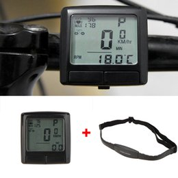 Wholesale Bike Heart Rate - LCD Bike Bicycle Cycling Computer Odometer Speedometer + Wireless Heart Rate Monitor Tester Chest Strap Bicycle Accessories DHL Y0267