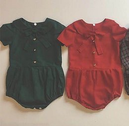 Wholesale Short Pans - Summer Toddler Girls Bodysuits Clothing Peter pan Collar Short Sleeve Fashion Baby Overalls Kids Clothing 0-3T E1631