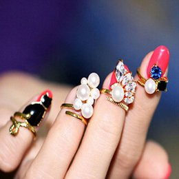 Wholesale Bands Nail Fine - Exquisite Finer Nail Rings Retro Queen Dragonfly Design Rhinestone Plum Pearls Black Cat Rings For Girls Party Ring Resizable Knuckle Ring