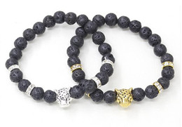 Wholesale Mens Bracelets Lion - Mens Lava Rock Stone Head Lion Elastic Beaded Charm Energy Bracelet Black Lava Energy Stone Beads Protection Savannah Lion Beaded Bracelets