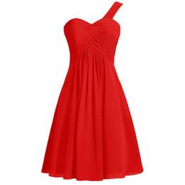Une épaule robes de demoiselle d'honneur en mousseline de soie courtes 2017 longueur au genou robe de soirée ? partir de fabricateur