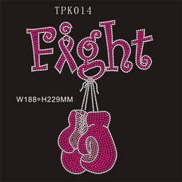 """Wholesale T Shirts Rhinestones Wholesale - 7.4""""wX9""""h Fight Ribbon pink hot fix rhinestone transfer DIY with your t-shirt,shose,bag and so on, 30piece"""