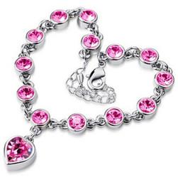 Wholesale Wholesales Ladies Gift Sets - Valentine's Day Gifts Women Fashion Jewelry Bracelets Heart Love Crystal Design Bracelet Lady Silver Gold Plated Bracelet 10PRS 6 Colors