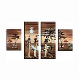 Wholesale Images Group Fashion - handpainted African Woman hardwordking image pine tree wood Modern group Oil Painting On Canvas for sale online