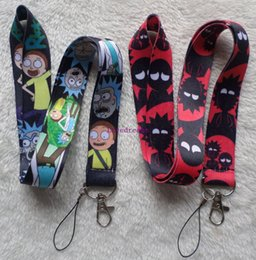 Wholesale Clip Cords - Hot!20 Pcs lot anime cartoon Hot Cartoon Rick and Morty Cell Phone Rope Strap Cords Lariat Clip Lanyards