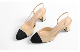 Wholesale Medium Documentary - In the spring of 2016 documentary shoes fashion color matching coarse female shallow mouth square head double color high heels