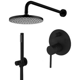 Wholesale Contemporary Bathroom Sets - Rolya Luxury Solid Brass Matte Black Concealed Waterfall Bathroom Shower Set in wall rain shower faucet