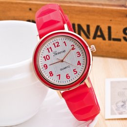 Wholesale Geneva Style Watch - New Geneva Style Watch Student Wristwatch Rubber Candy Jelly Fashion Men Wamen Silicone Quartz Watches Various colors