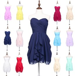 Wholesale Cheap Neckline Designs - 2016 Simple Short Prom Dresses Chiffon Pleats Sexy Backless Sweetheart Neckline A Line Design Cheap Mini Homecoming Dresses In Stock SD247