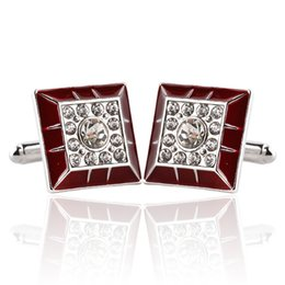 Wholesale Luxury Red Cufflinks - Luxury Crystal diamond red square Cufflink Cuff Links sleeve button women men shirts dress suit Cufflinks Christmas jewelry 170598